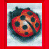 Mosaik Pixel mit Rahmen. Motiv Glückskäfer